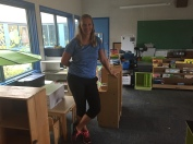 Mrs. Weber getting her room organized.